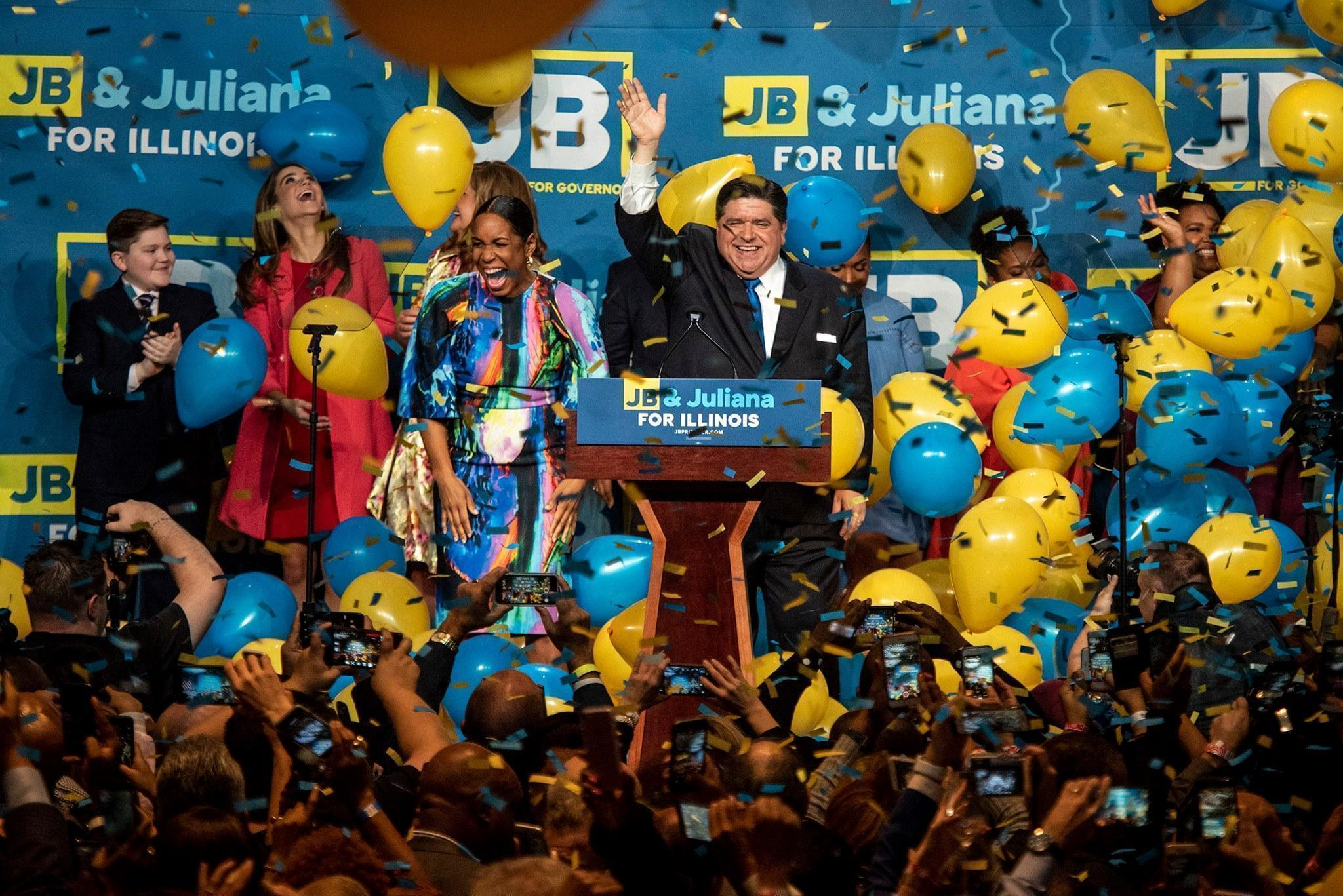 J.B. Pritzker celebrates his victory Tuesday.