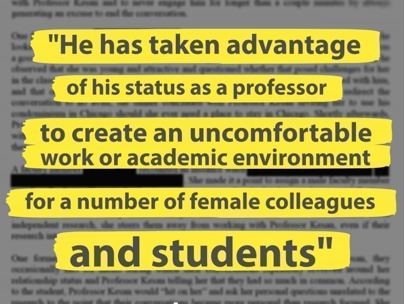 A quote from a U of I campus investigation into sexual harassment allegations against law professor Jay Kesan.