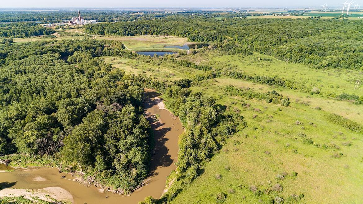 The Middle Fork River near the coal ash ponds at the Vermilion Power Station near Oakwood, Illinois
