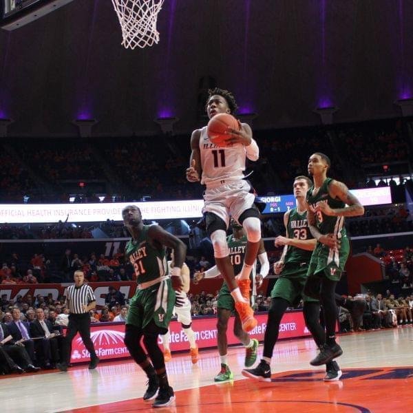 Ayo Dosunmu drives against Mississippi Valley State, Sunday in Champaign.