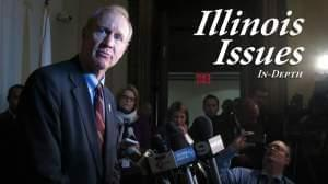Gov. Bruce Rauner addresses reporters in 2015.