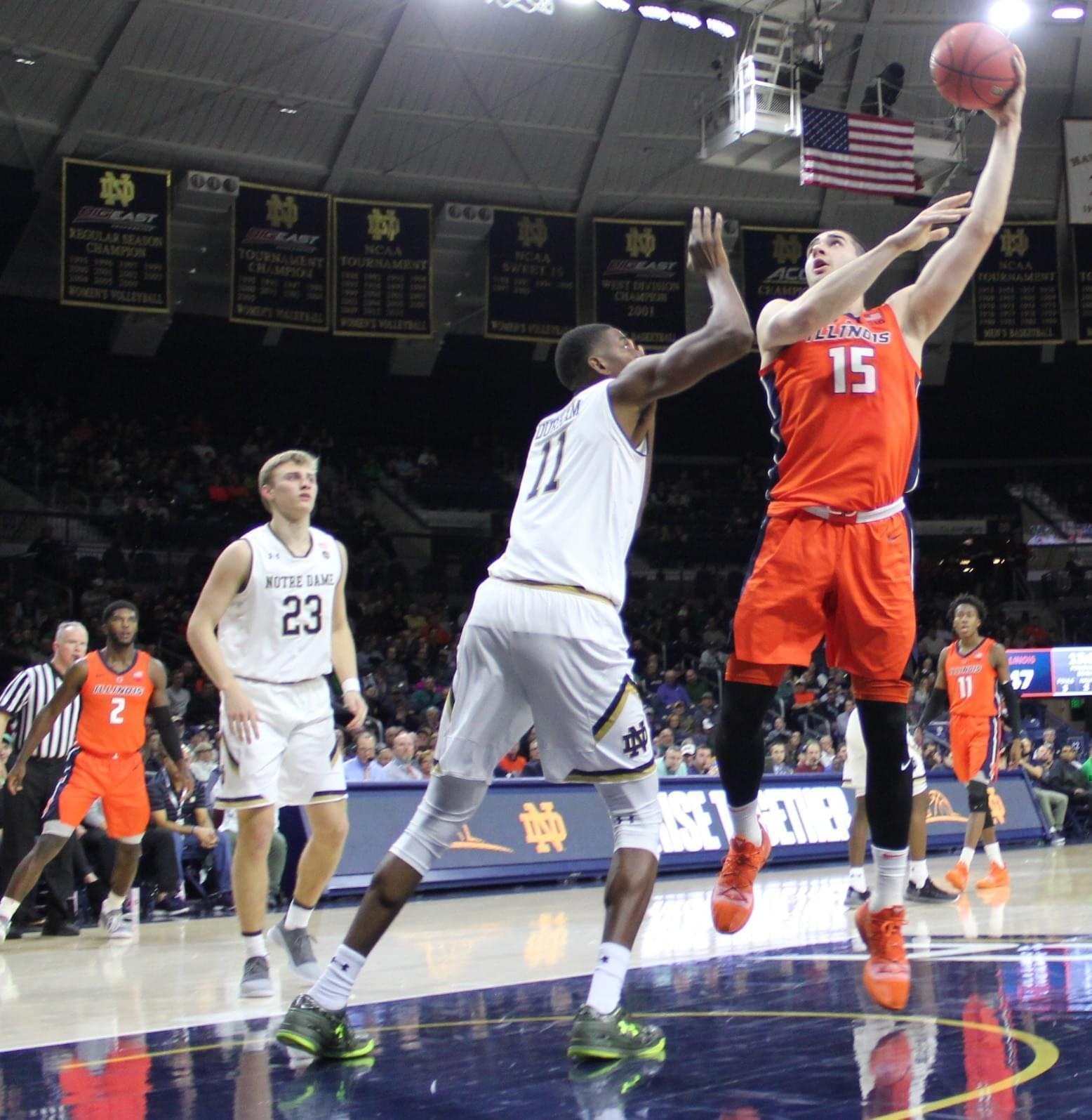 Giorgi Bezhanishvili attempts a hook shot versus Notre Dame, Tuesday in South Bend.