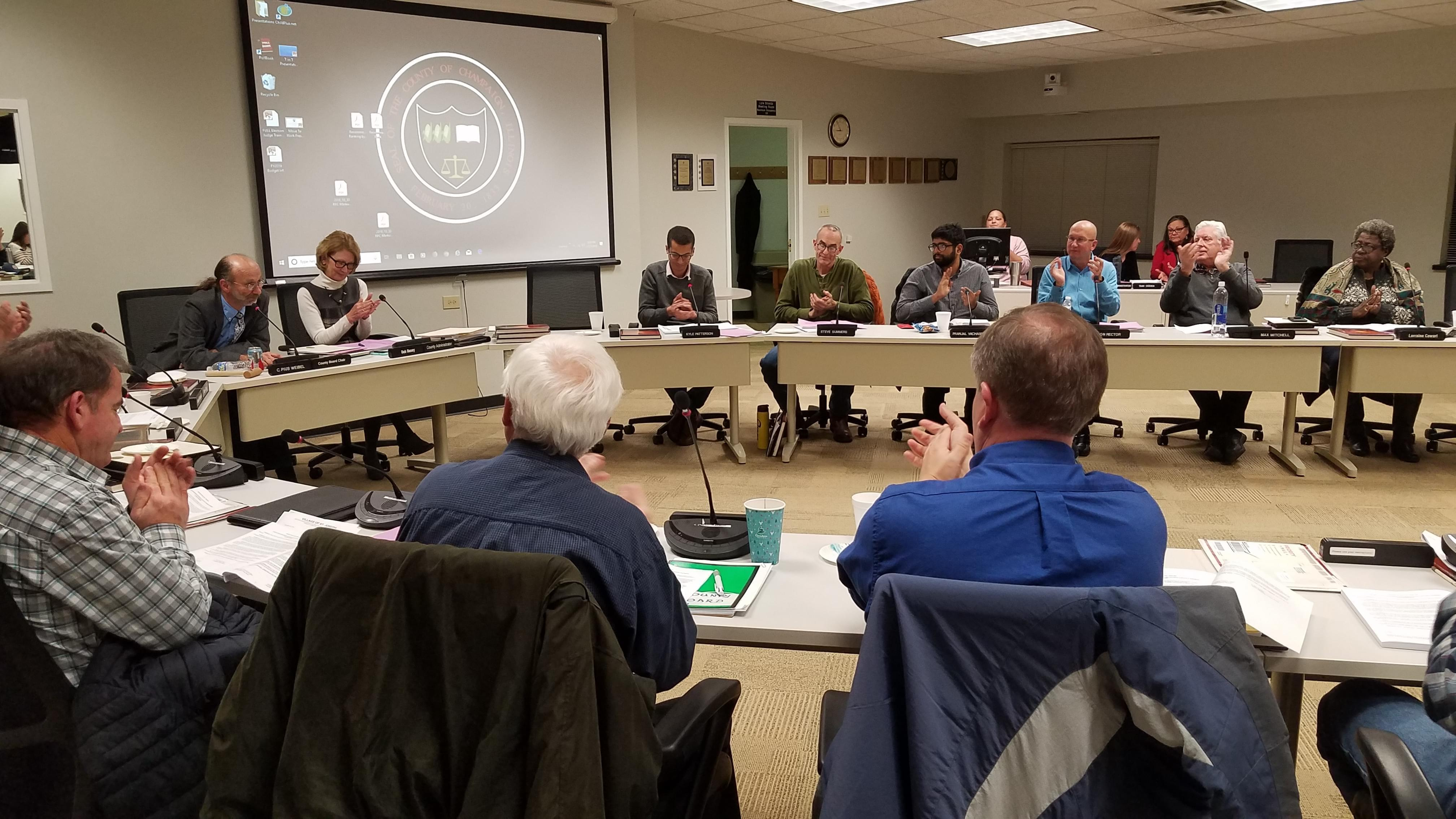 The Champaign County Board, in its final meeting of the 2017-18 term.