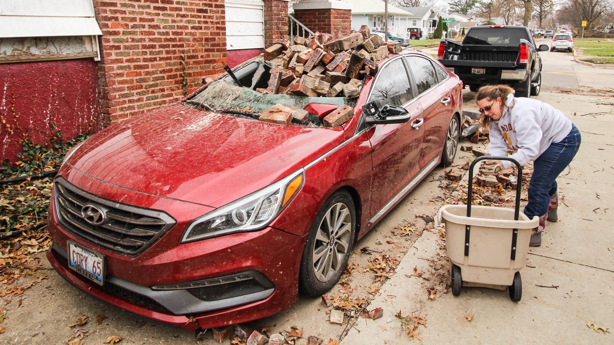 tornado-damaged car