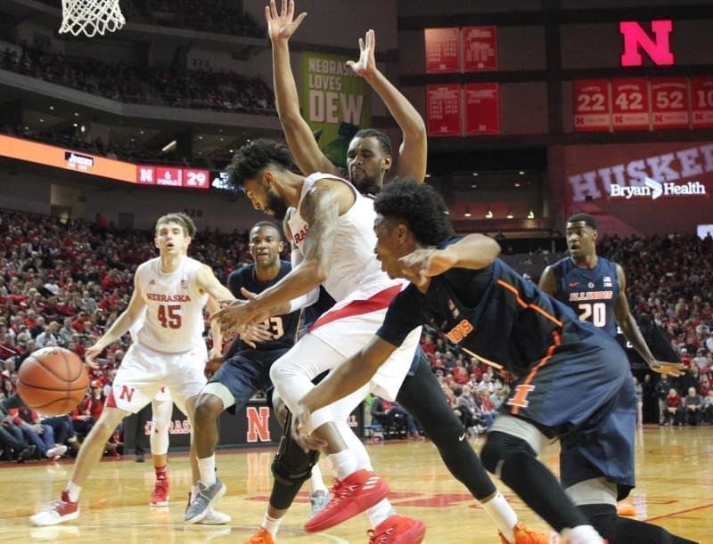 Illini guard Trent Frazier knocks the ball from the hands of Nebraska's Isaac Copeland, Sunday in Lincoln, Nebraska.
