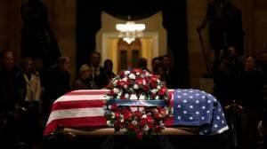 The casket of President George H.W. Bush, lying in state at the U.S. Capitol.