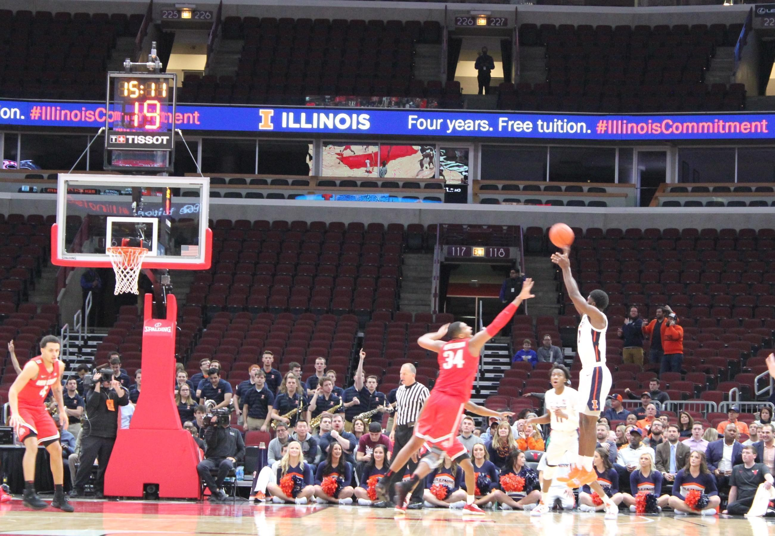 Kipper Nichols connects on a three-point attempt in front of a largely empty United Center, Wednesday December 5 in Chicago.