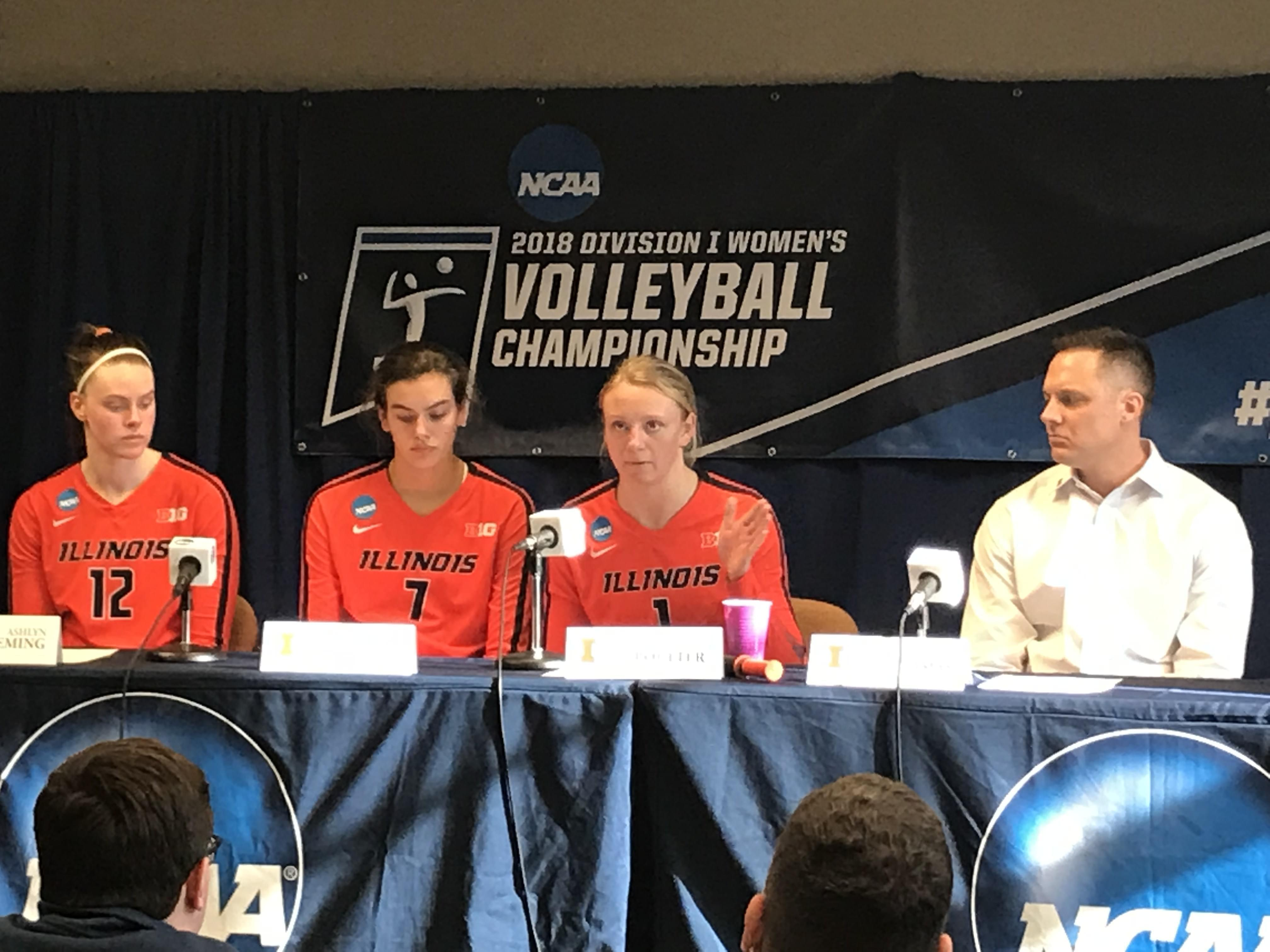 Senior setter Jordyn Poulter answers a reporter's question after a 3-0 win over Marquette in the NCAA Tournament round of 16 on Friday.