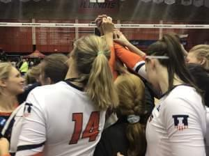 Emily Hollowell and her Illini teammates in the postgame huddle after a 3-1 win over Wisconsin on Saturday December 8 at Huff Hall in Champaign.