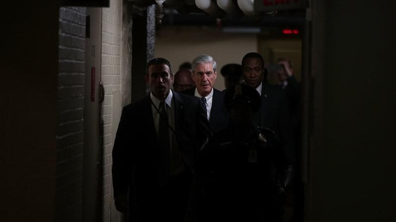 Robert Mueller leaves a closed meeting with members of the Senate Judiciary Committee on June 21, 2017.