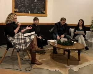 Moderator Liz Westfield asks a question during a recent News and Brews event at Riggs Beer Company in Urbana.
