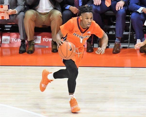 Trent Frazier brings the ball upcourt during a 73-55 win over East Tennessee State Saturday at State Farm Center.