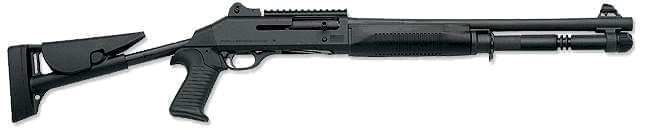 A Benelli M4 Super 90 semi-automatic shotgun.