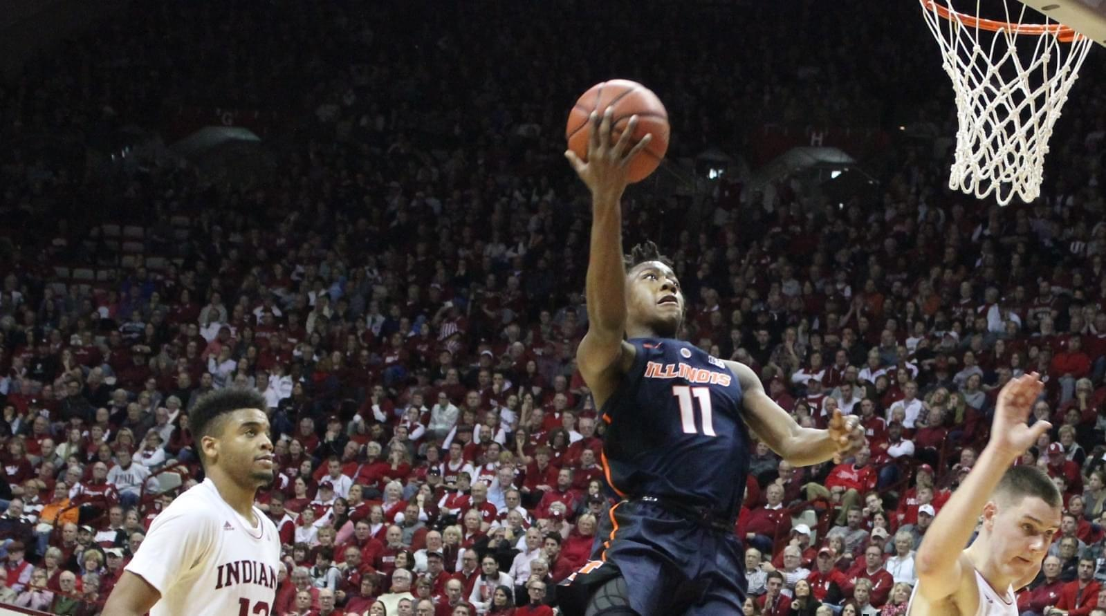 Illinois guard Ayo Dosunmu drives for a lay-up at Indiana, Thursday night in Bloomington.