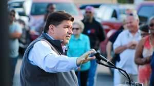 J.B. Pritzker speaks with union supporters at a 2017 rally in Springfield. He's scheduled to take the oath of office at 12:01 p.m. Monday.