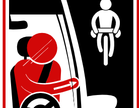 An illustration showing how a motorist employs the Dutch Reach.