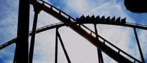 A roller coaster at Six Flags Great America, in the suburbs north of Chicago.