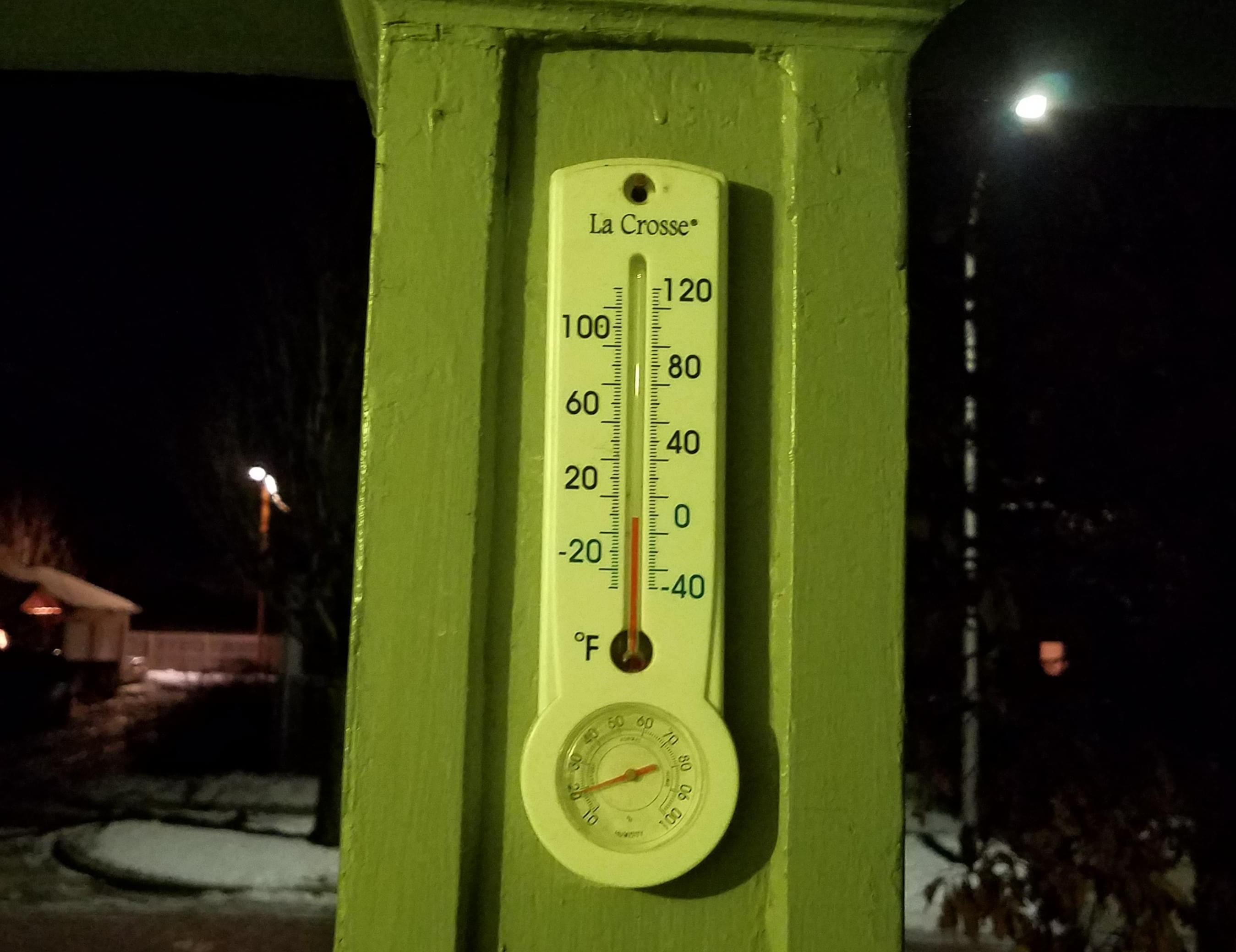 Outdoor thermometer in Champaign.