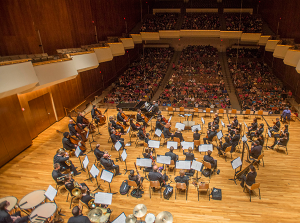 The Champaign-Urbana Symphony Orchestra performing at one of its annual youth concerts at Krannert Center for the Performing Arts.