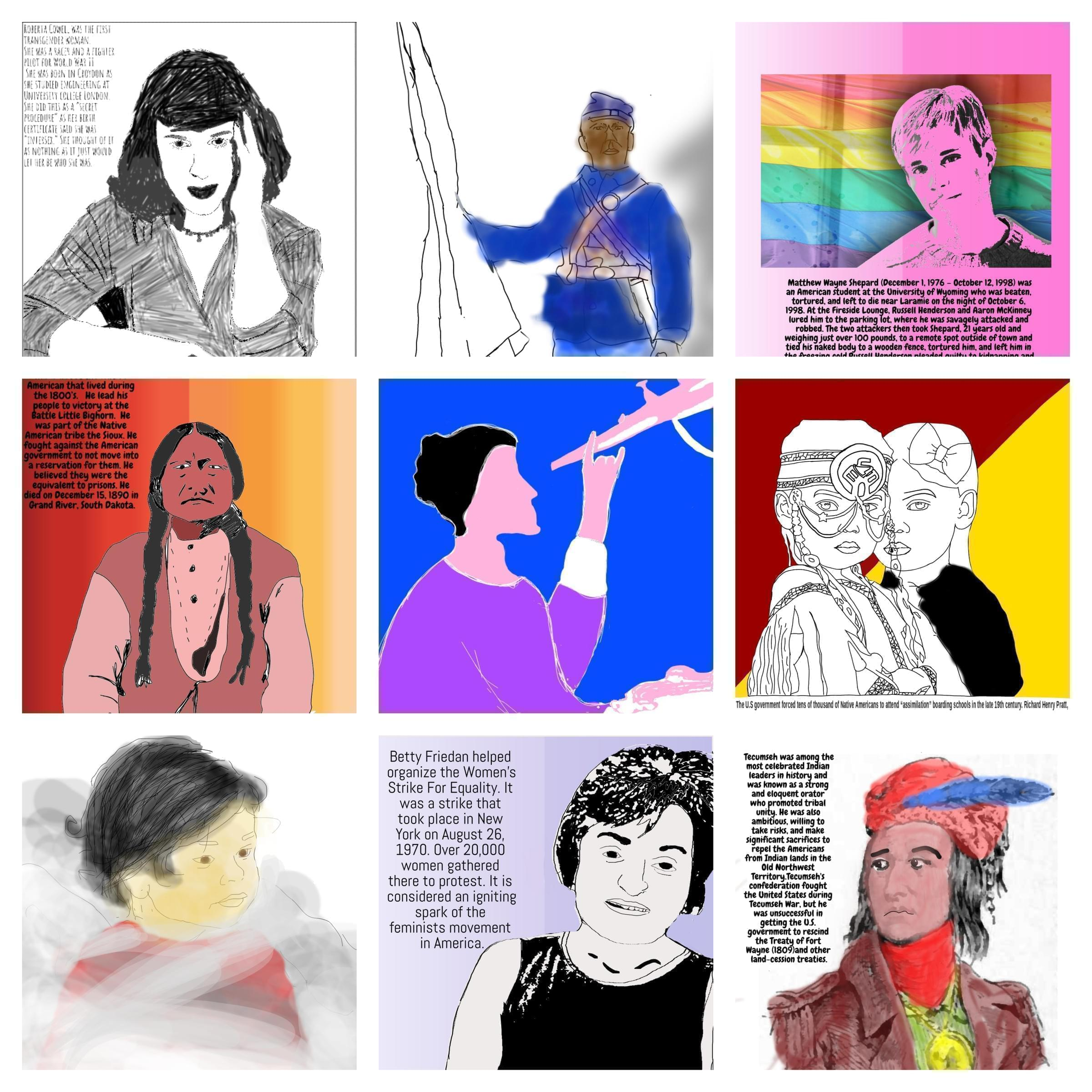 "Posters done by Marc Nelson's students for their ""People's History"" projects. Click thru the slideshow at the bottom of this story to see them individually."