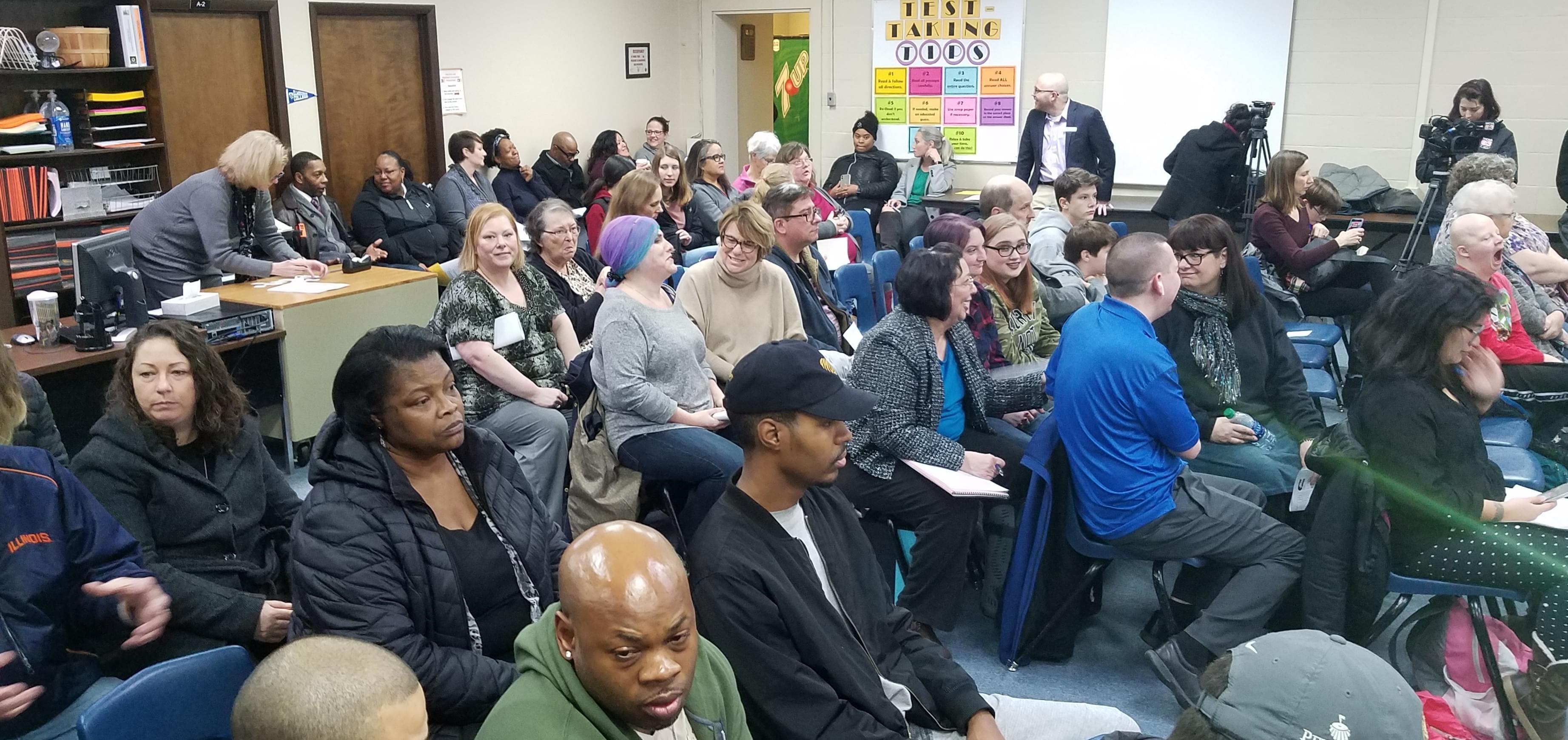 A capacity crowd at Tuesday night's Urbana School Board meeting.