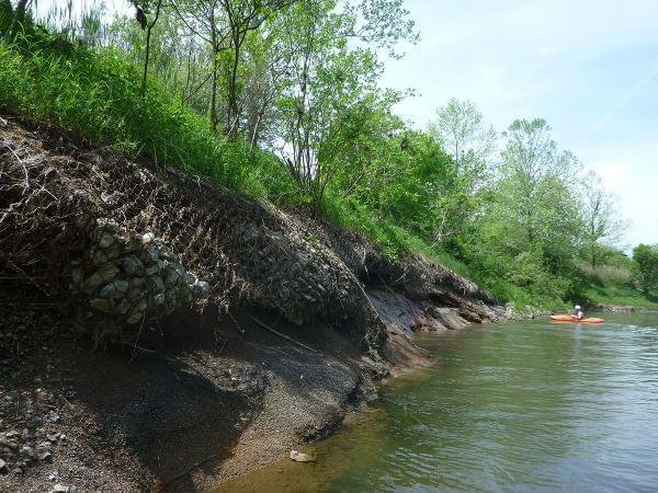 Erosion of the riverbank on the Middle Fork River.
