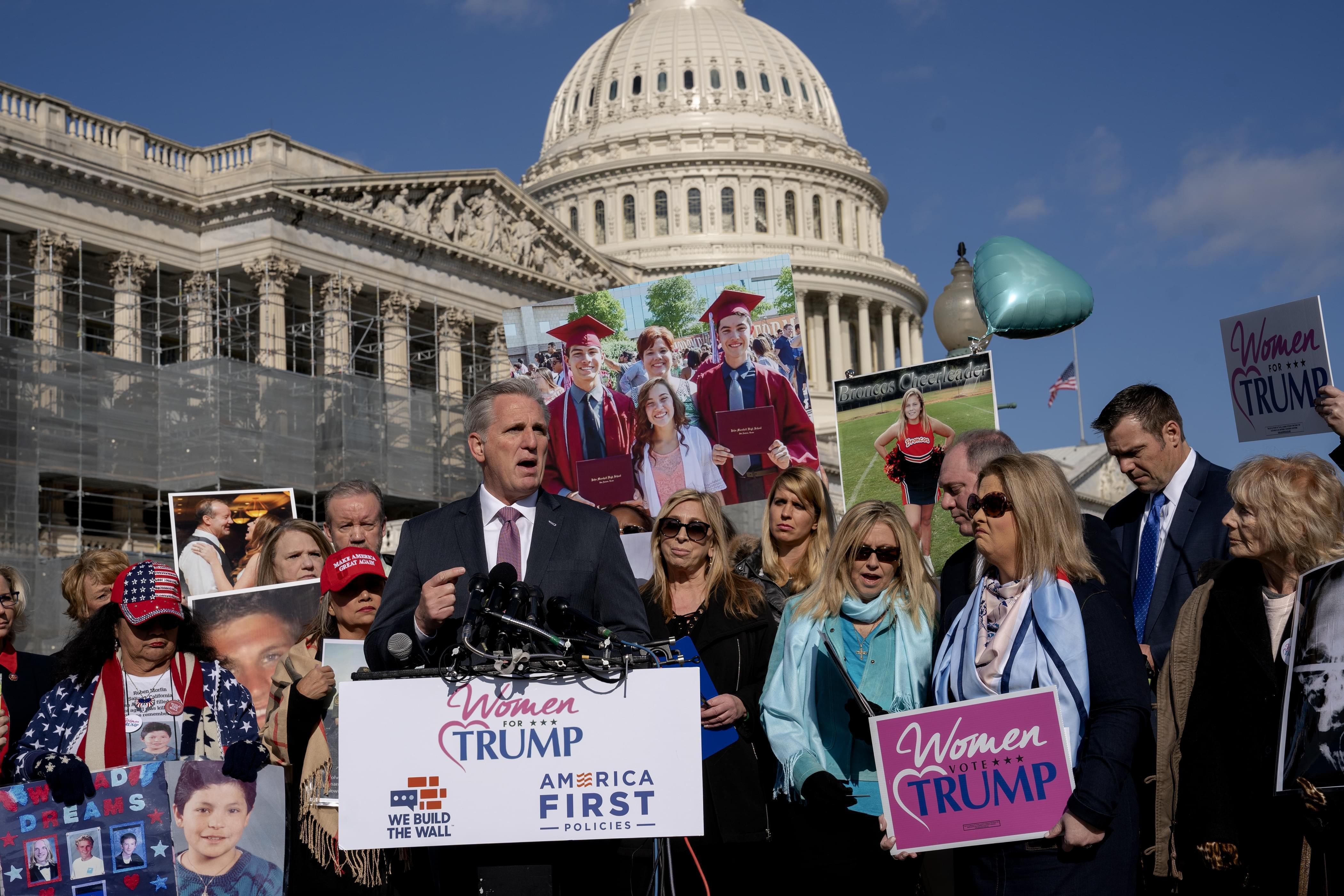 House Minority Leader Kevin McCarthy, R-Calif., joins  others supporting a border wall with Mexico, at the Capitol in Washington.