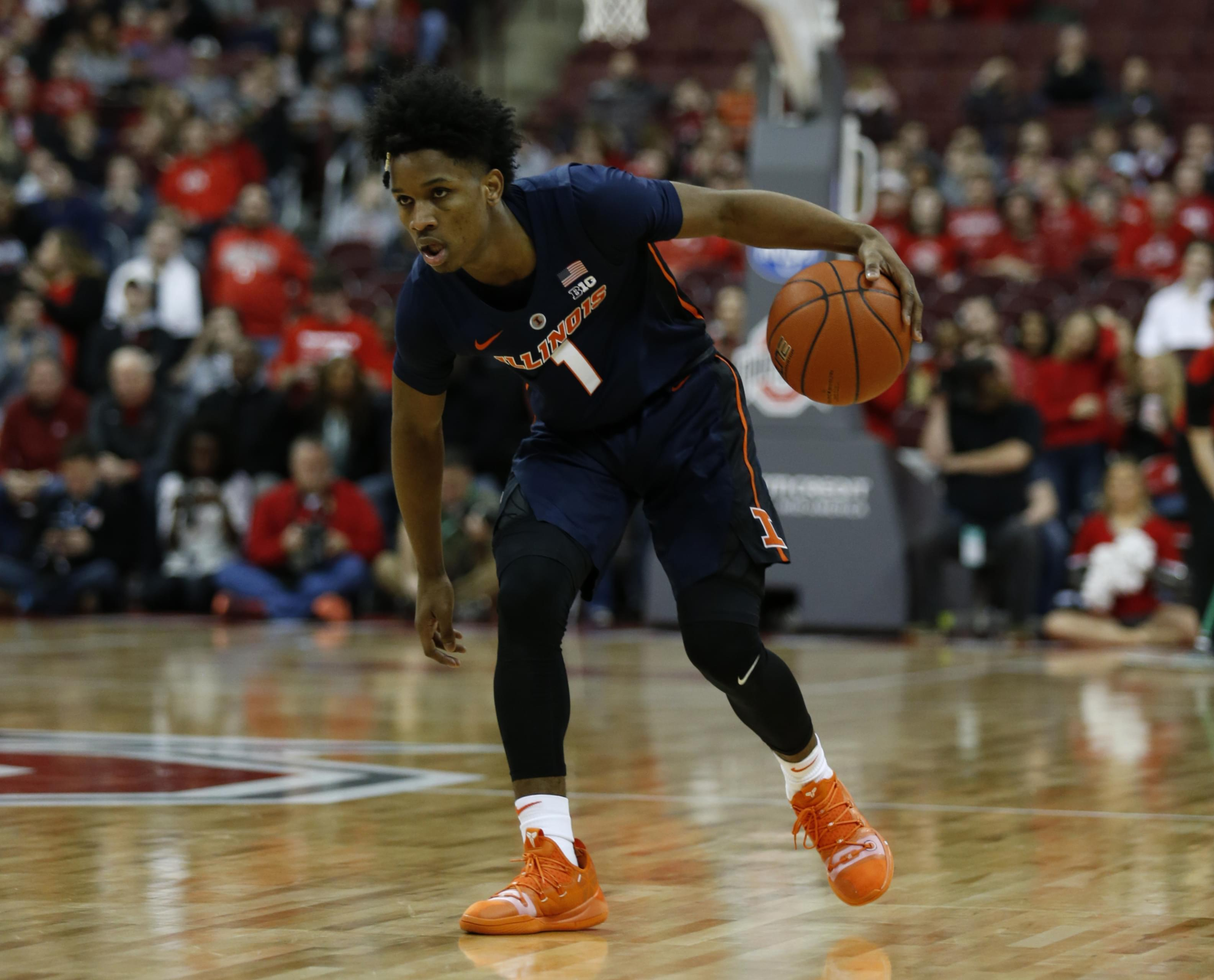 Illinois guard Trent Frazier drives against Ohio State during an NCAA college basketball game in Columbus, Ohio, Thursday, Feb. 14, 2019. Illinois won 63-56.