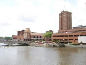 A view of Aurora Illinois, along the Fox River.