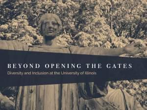 The Alma Mater with the words Beyond Opening the Gates superimposed on top
