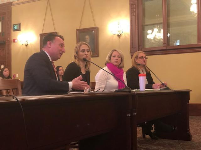 Pete DiCianni (left) testifying at the House mental health committee hearing about his daughter Brianna.