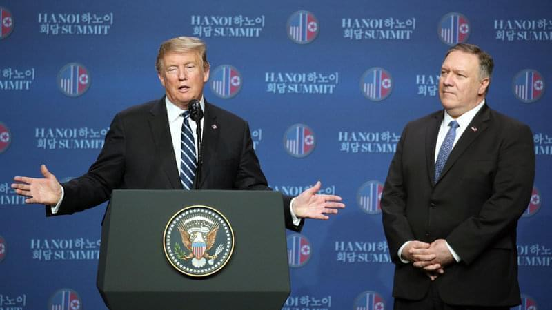 U.S. President Donald Trump, left, gestures as Mike Pompeo, U.S. secretary of state, looks on during a news conference following the DPRK-USA Hanoi Summit in Hanoi, on Thursday. Trump's second summit with Kim collapsed Thursday without an agreem