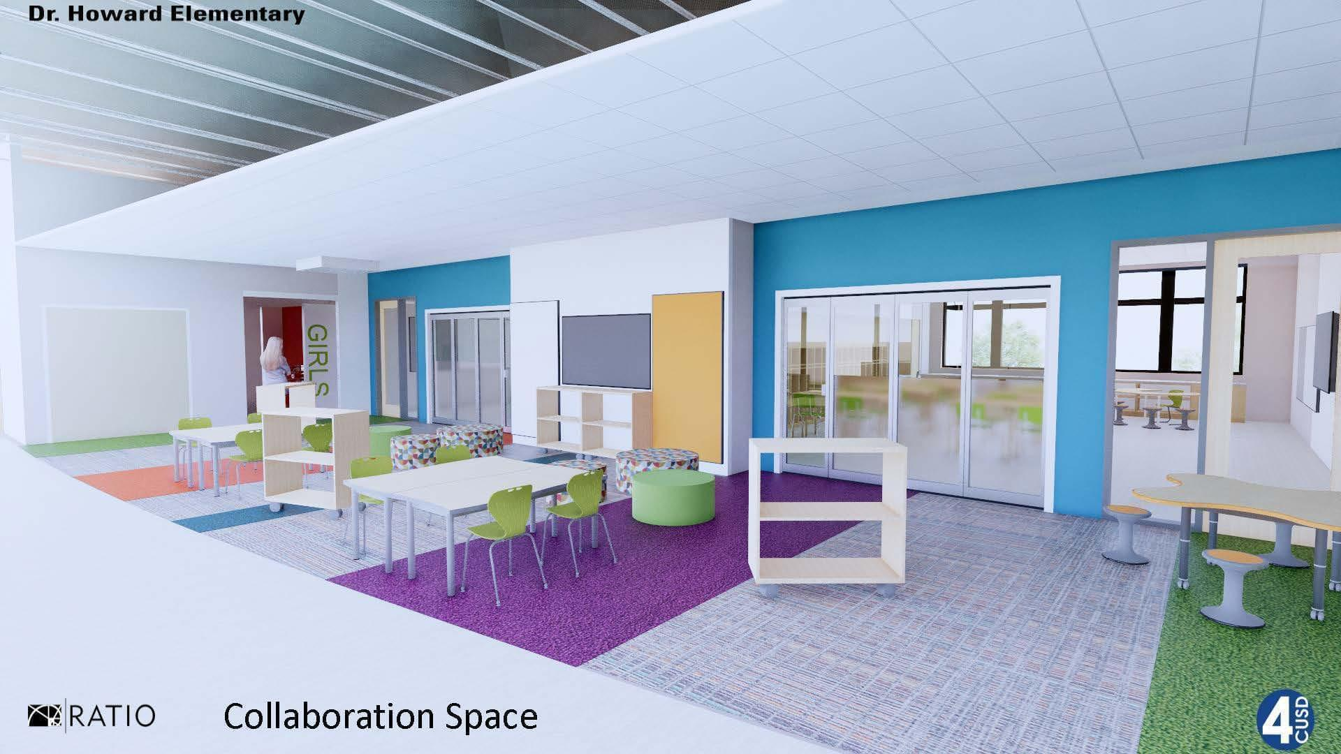 A rendering of a collaboration space at the new Dr. Howard Elementary School.