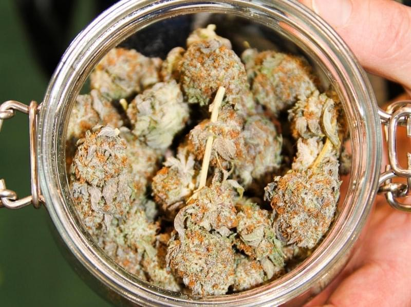 A jar of cannabis.