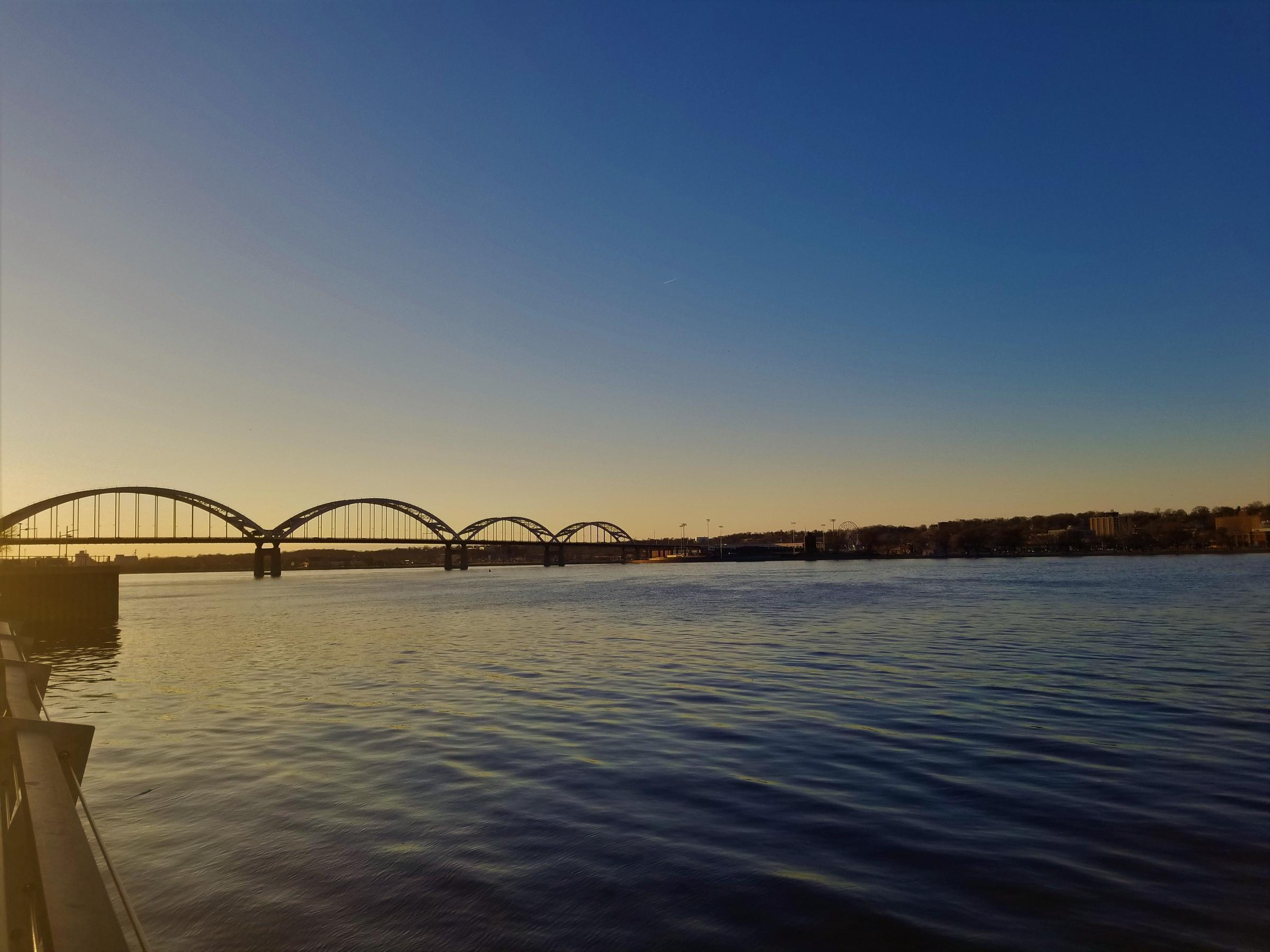 The Mississippi River running through the Quad Cities