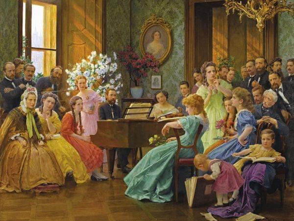 Bedřich Smetana Among his Friends, 1865; oil painting by František Dvořák