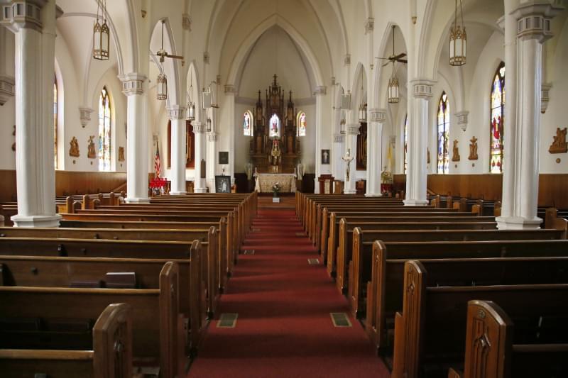 The interior of Holy Trinity Catholic church.