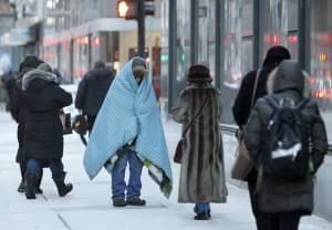homeless person in the cold