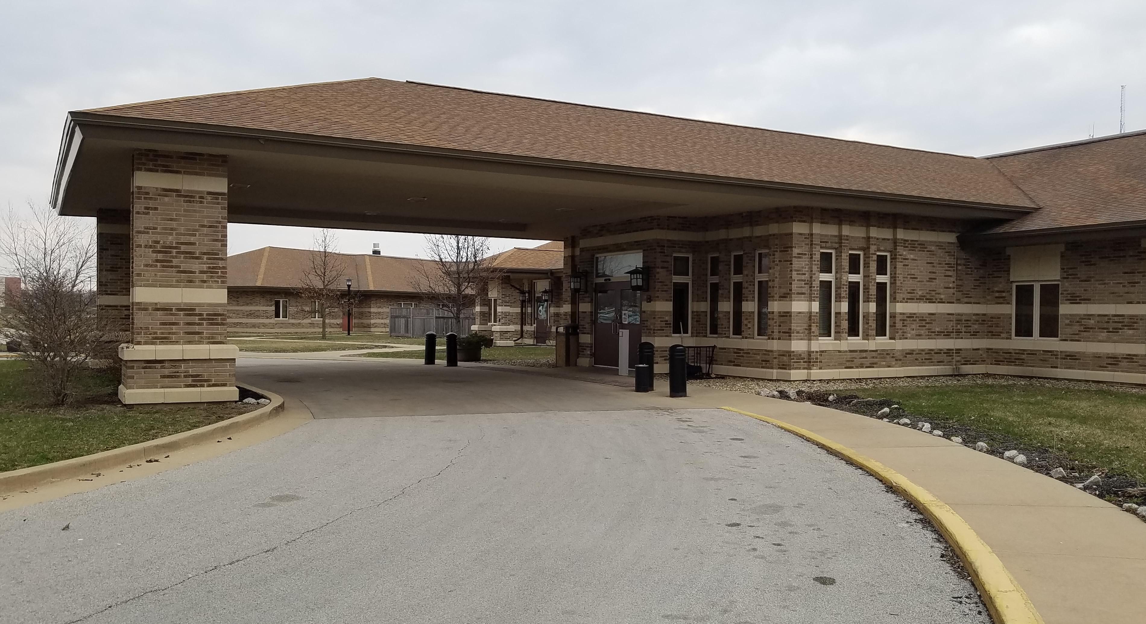 Front entrance of University Rehabilitation Center of C-U in Urbana, formerly the Champaign County Nursing Home.