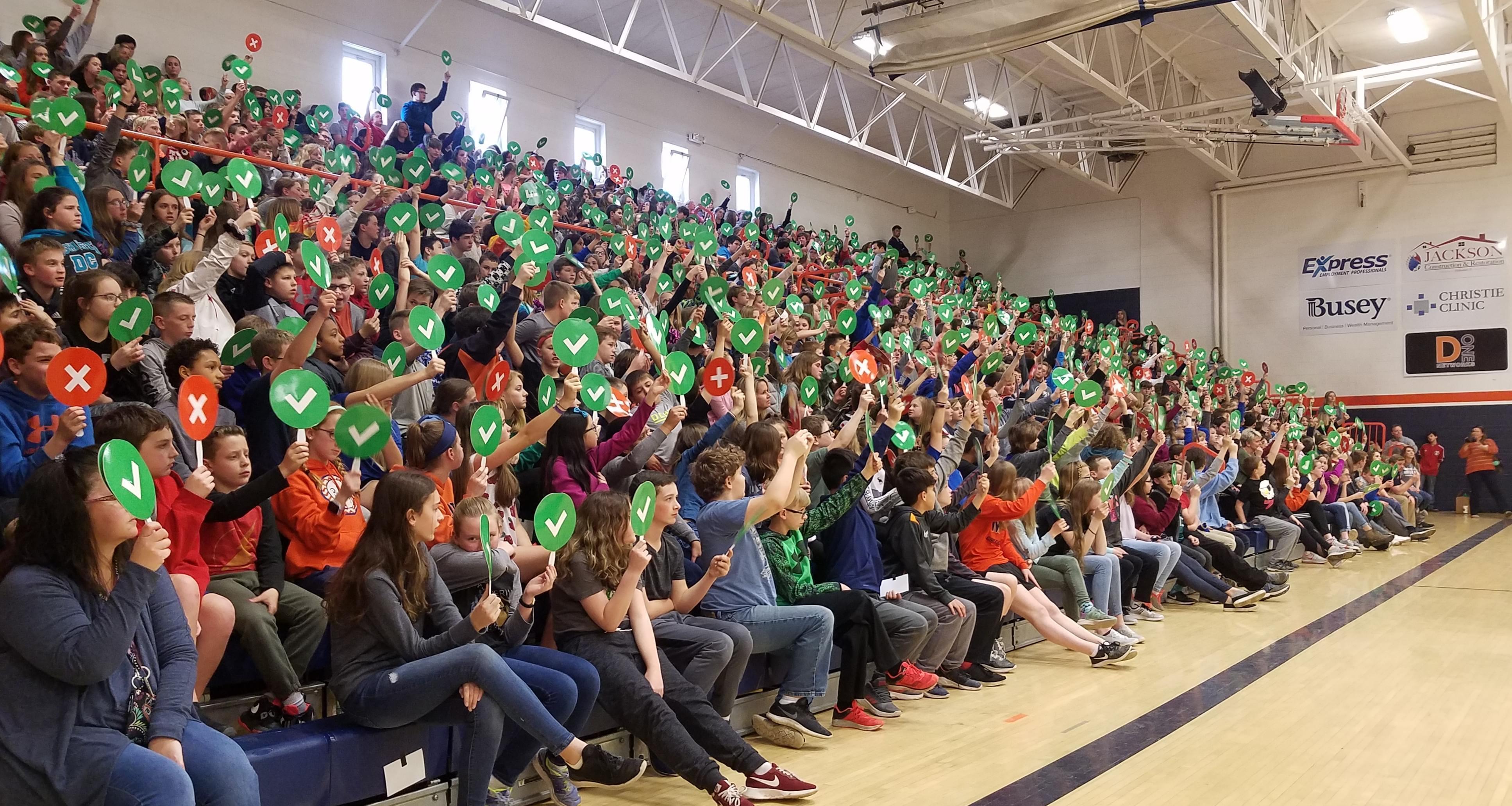 Mahomet -Seymour Junior High School students attend Google's Internet safety presentation.