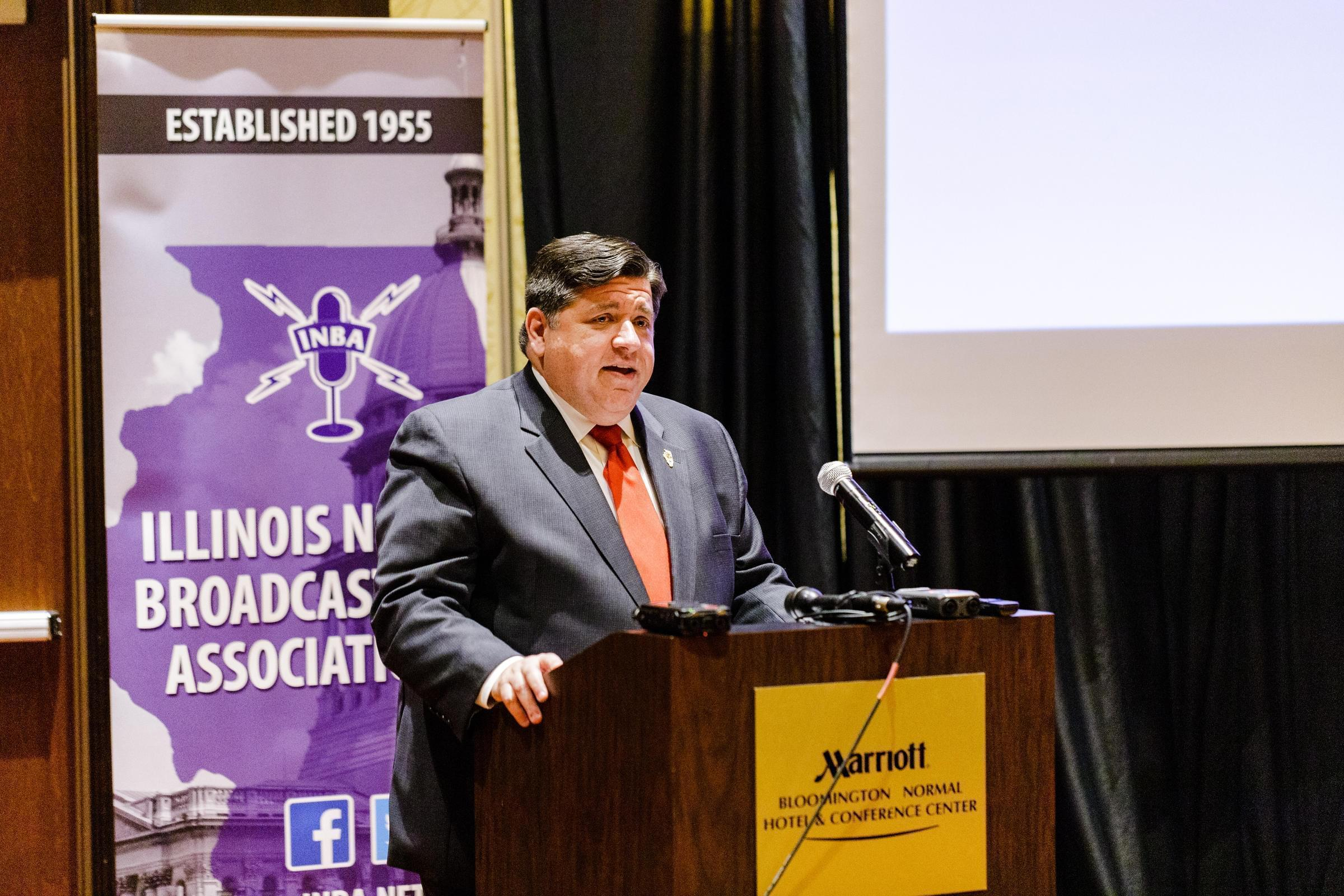 J.B. Pritzker becomes the second governor to speak before the Illinois News Broadcasters Association. He joins Otto Kerner, who met with journalists in 1964.
