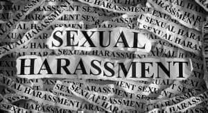 Different type settings of the words sexual harassment