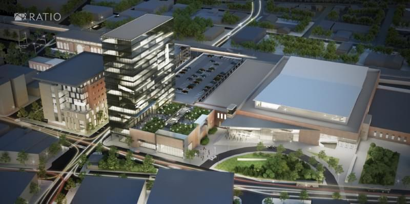 """Artist's rendering of """"The Yards"""", a development proposed for downtown Champaign."""