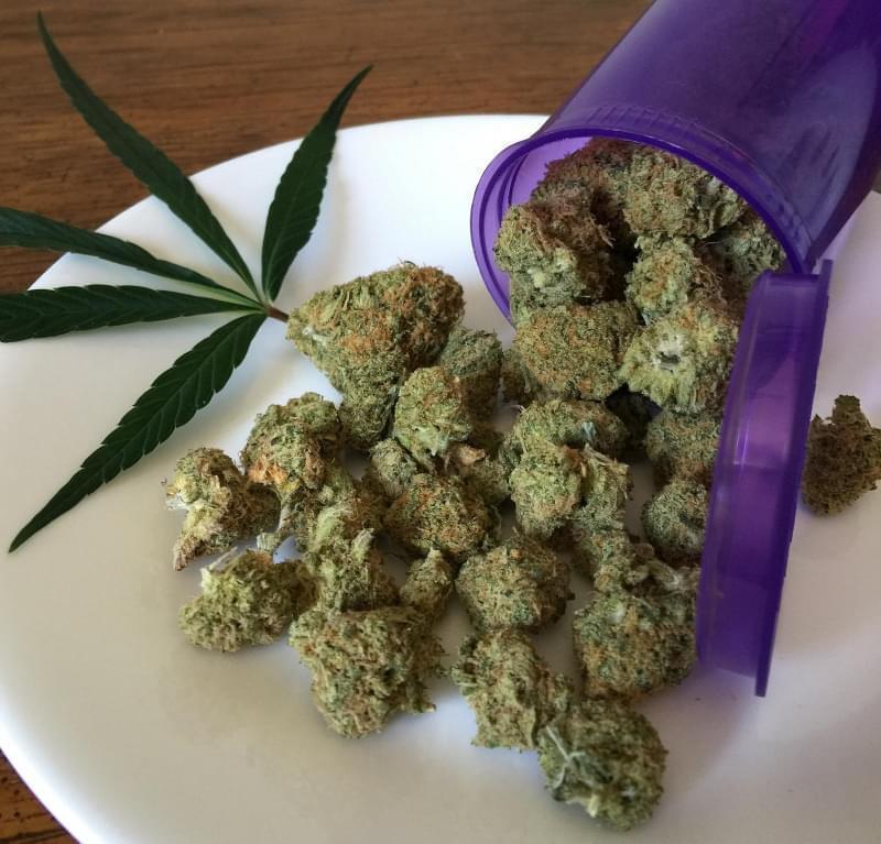 A plate with marijuana.
