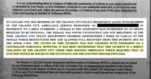 Part of letter the Granite City Police Department sent to a landlord instructing them to evict a tenant, using crime-free housing rules.