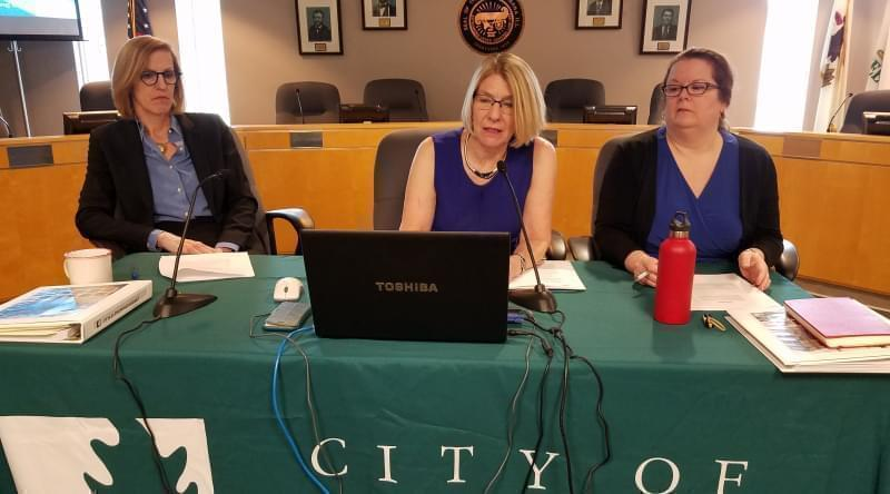 Mayor Diane Marlin and other Ubana city officials discuss their FY 2020 budget plan at a news conference.