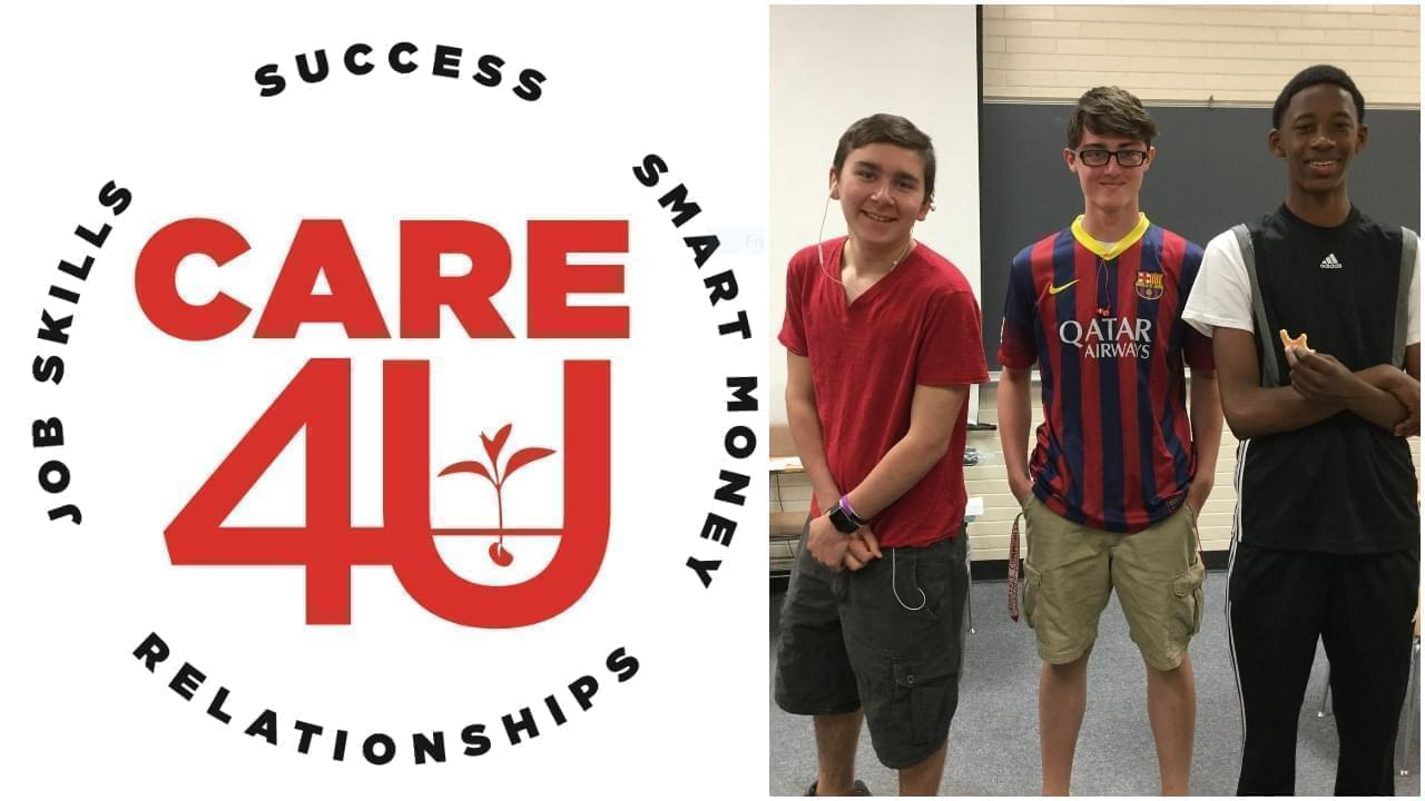 Care4U logo and photo of boys