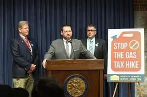 State Rep. Allen Skillicorn, a Republican from Crystal Lake, speaks at a press conference Wednesday in Springfield.