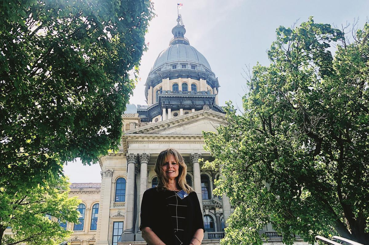 Jennifer Jacobs, outside the Illinois Capitol building in Springfield.