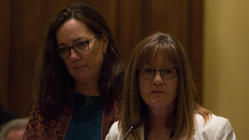 State Rep. Kelly Cassidy, left, stood behind Sen. Melinda Bush as she presented the Reproductive Health Act to the Illinois Senate on Friday.